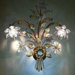lampada foglia oro e cristallo