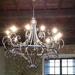 lampadario ferro forgiato unico